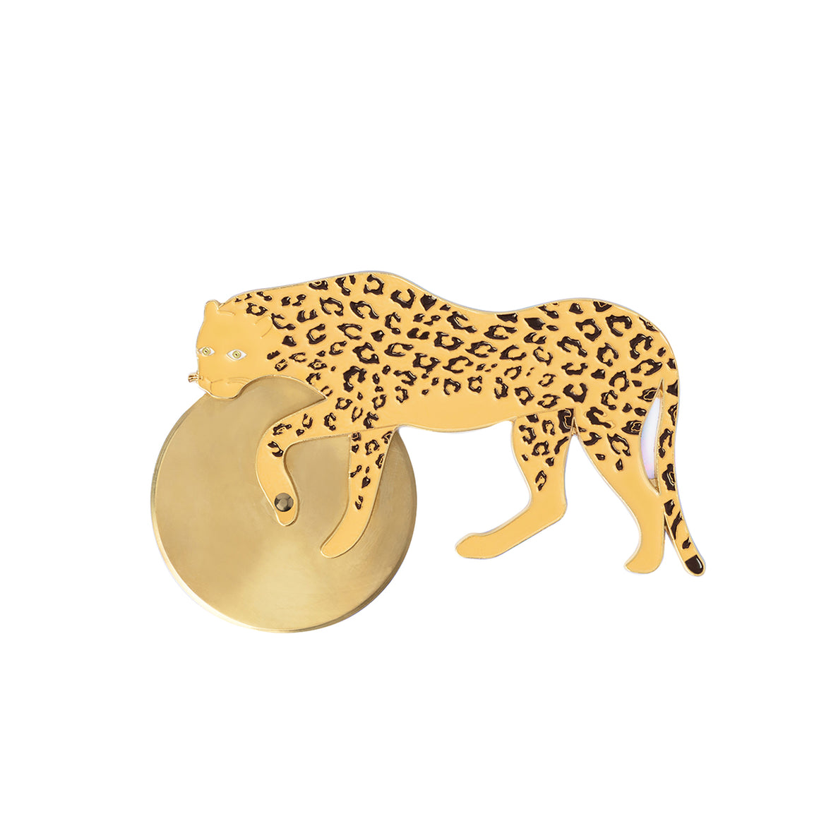 A pizza cutter in the shape of a Cheetah. A golden cutting wheel is attached to the cheetahs legs. The cheetah is a glossy yellow enamel on gold and used as the handle of the pizza cutter.