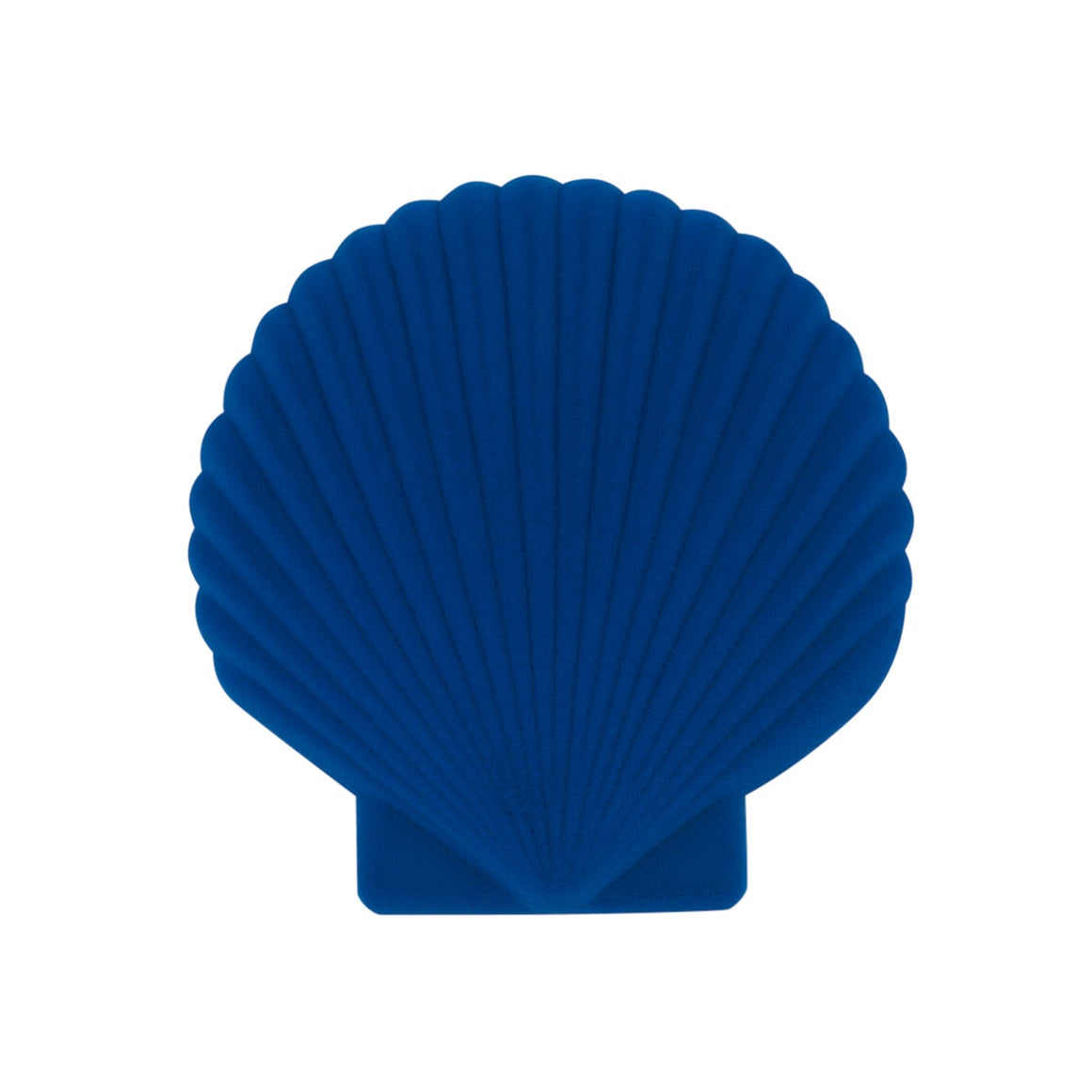 A blue velveteen jewellery box in the shape of a shell