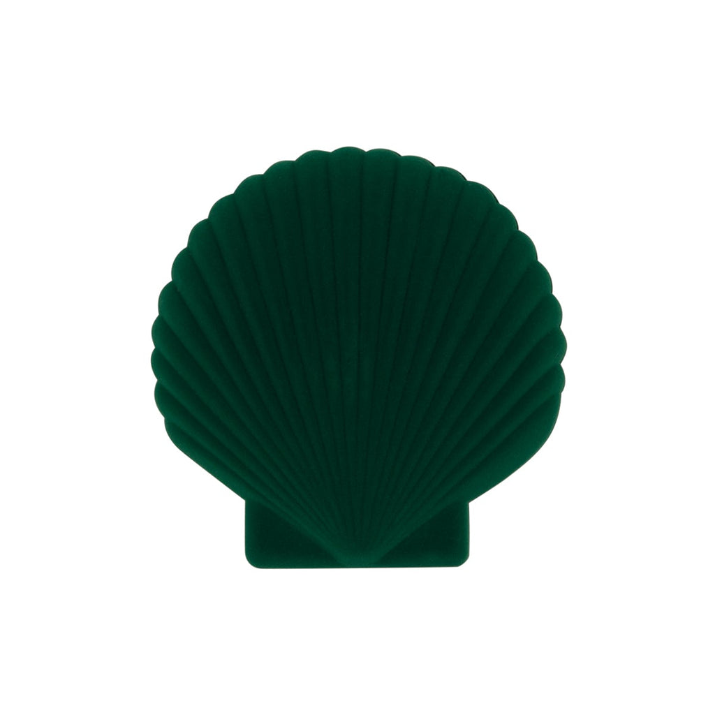 A green velveteen jewellery box in the shape of a shell