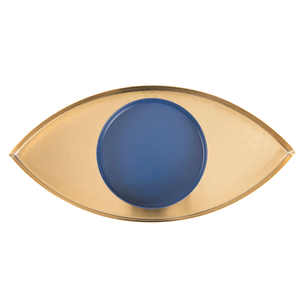 A set of two display trays in blue and gold, which when overlaid look like an eye..