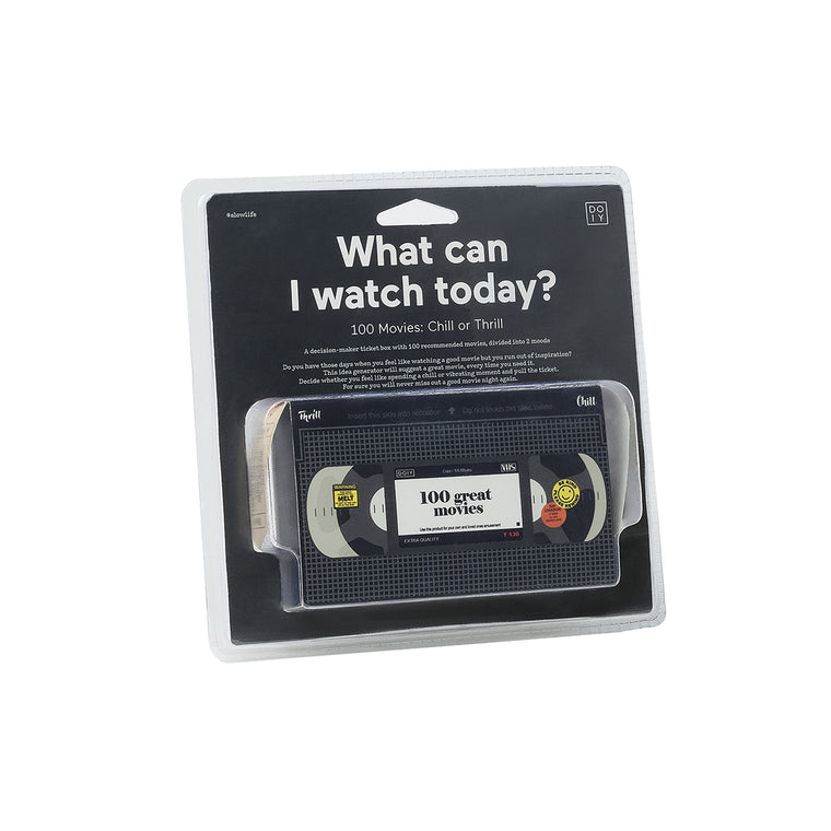 "The ticket dispensing box is shown in its packaging. The text read "" What can I watchtoday? 100 Movies: Chill or Thrill"""