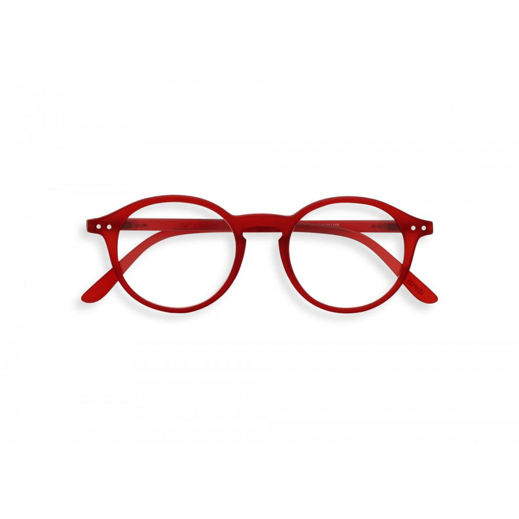 A pair of slightly translucent red magnifying reading glasses. The frames are an round, timeless, best-selling shape.