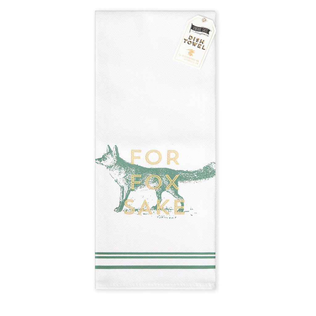 Tea Towel featuring a vintage inspired screen print of a fox featuring a golden accent quote stating for fox sake