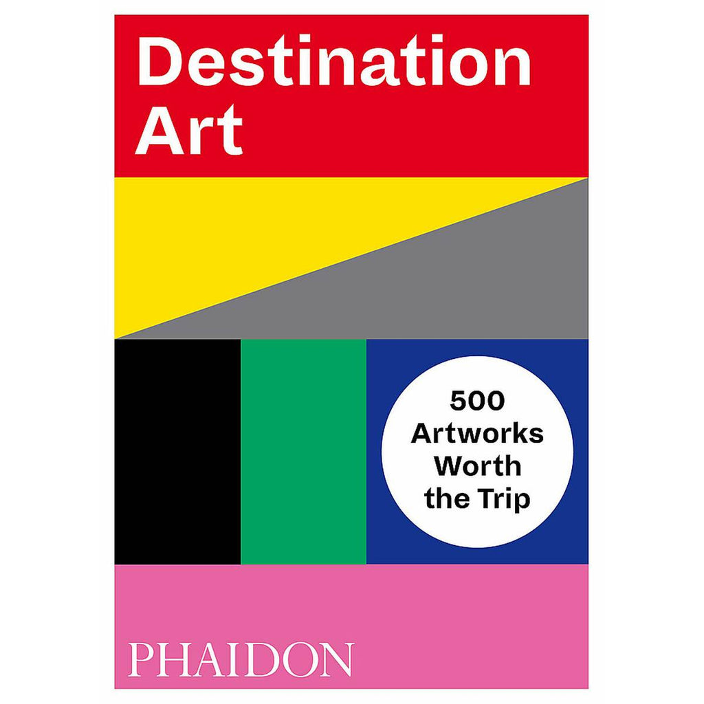 A brightly coloured book cover featuring a  block colour artwork in red, yellow, grey, green, blue, pink, white and black.