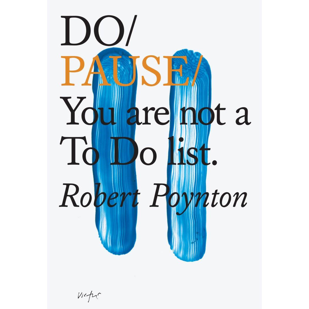 A white book cover with two finger painted blue lines in the shape of a pause symbol.