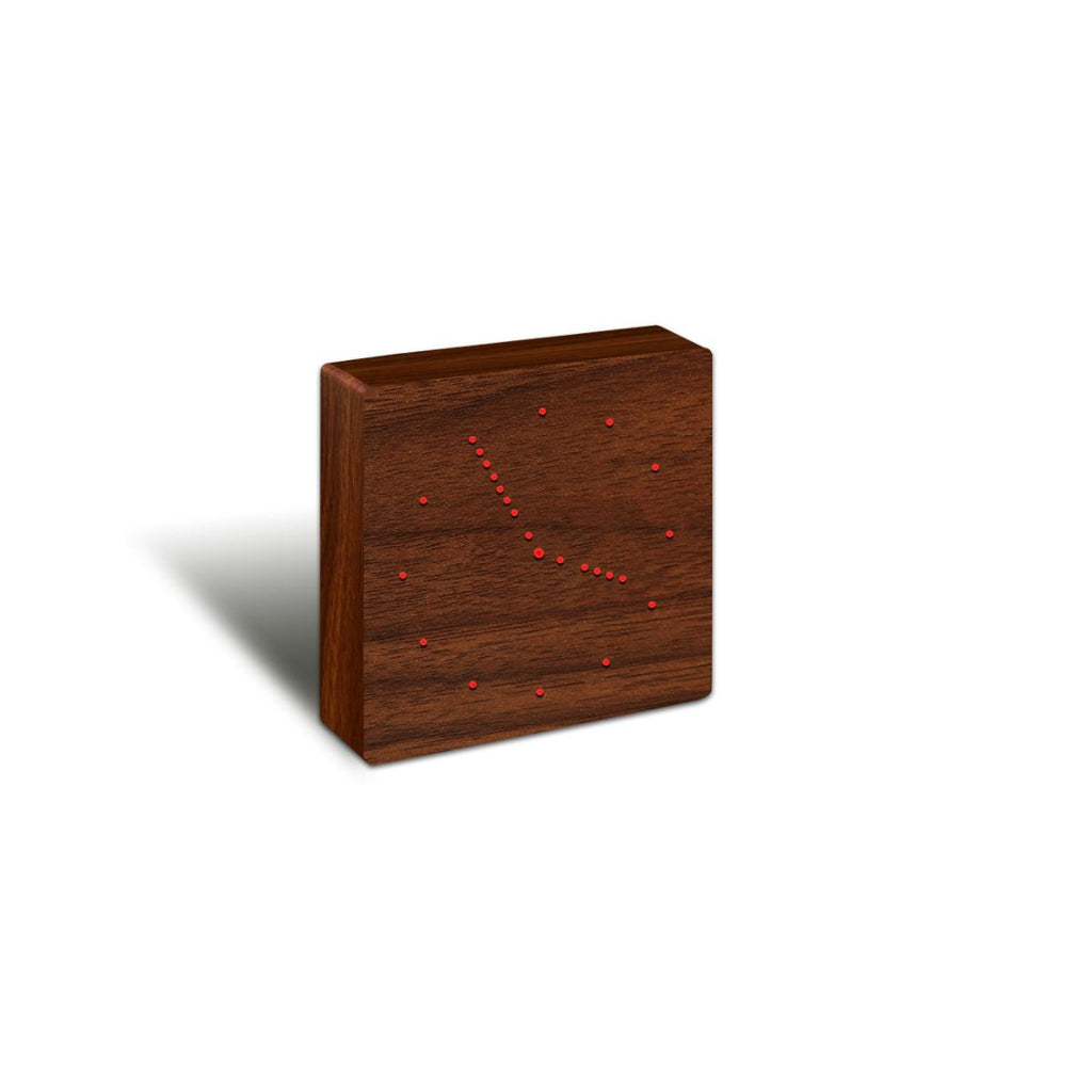Clock Analogue with LED dots in a walnut timber material
