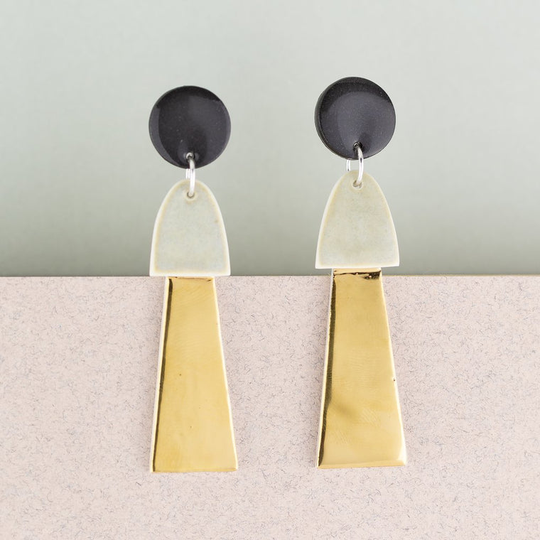 Earrings Big Tassel Black & Gold
