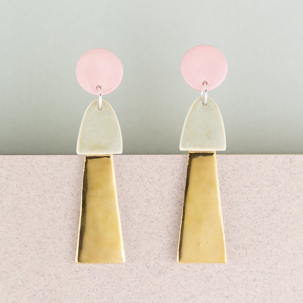 Earrings Big Tassel Pink & Gold