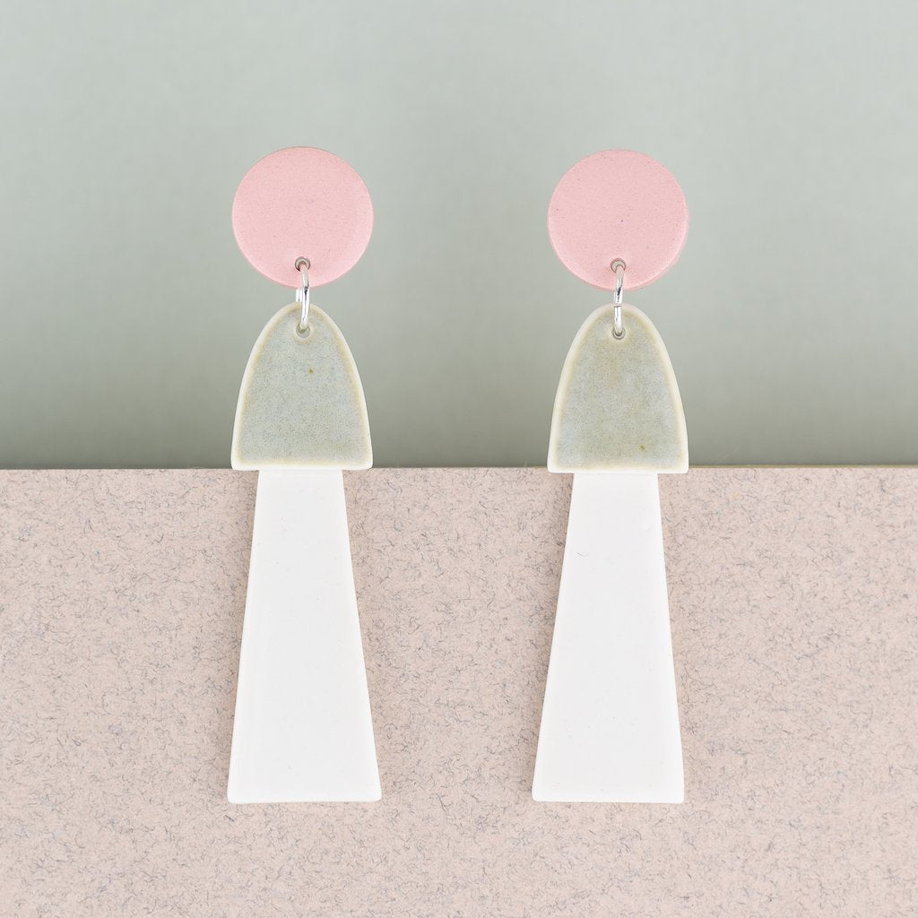 Earrings Big Tassel Pink & White