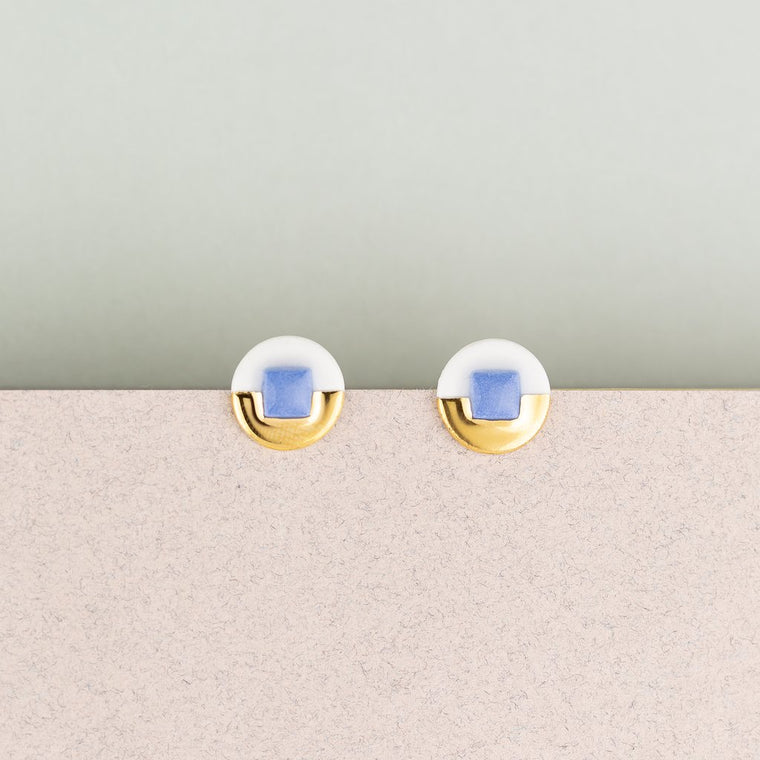 Earrings Jewel Studs Blue & White