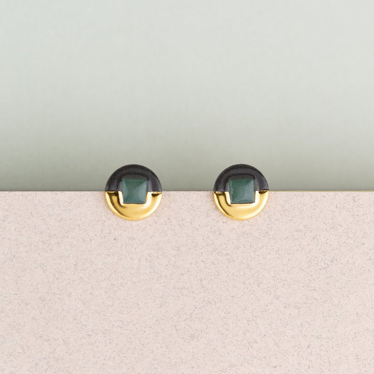 Earrings Jewel Studs Green & Black