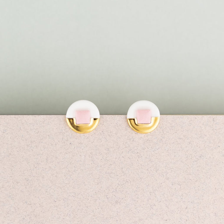 Earrings Jewel Studs Pink & White