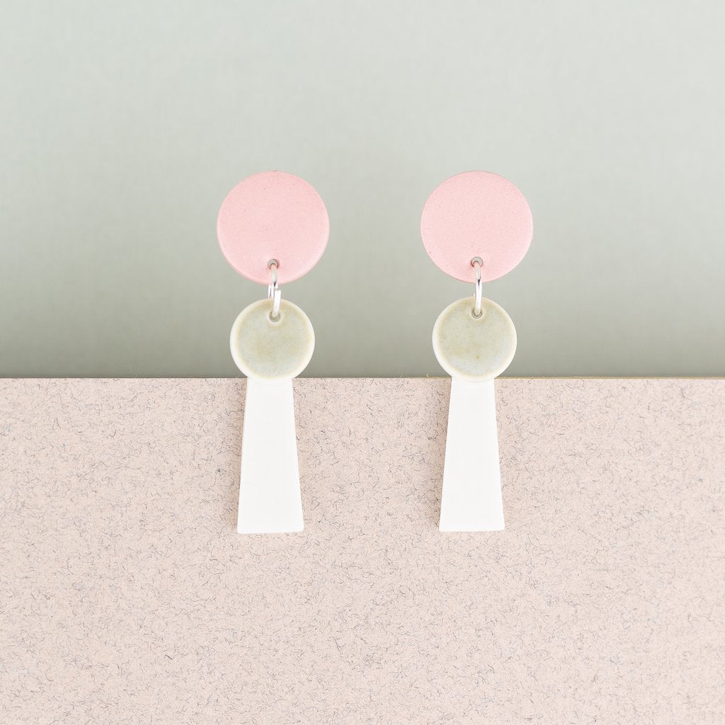 Earrings Small Tassel Pink & White
