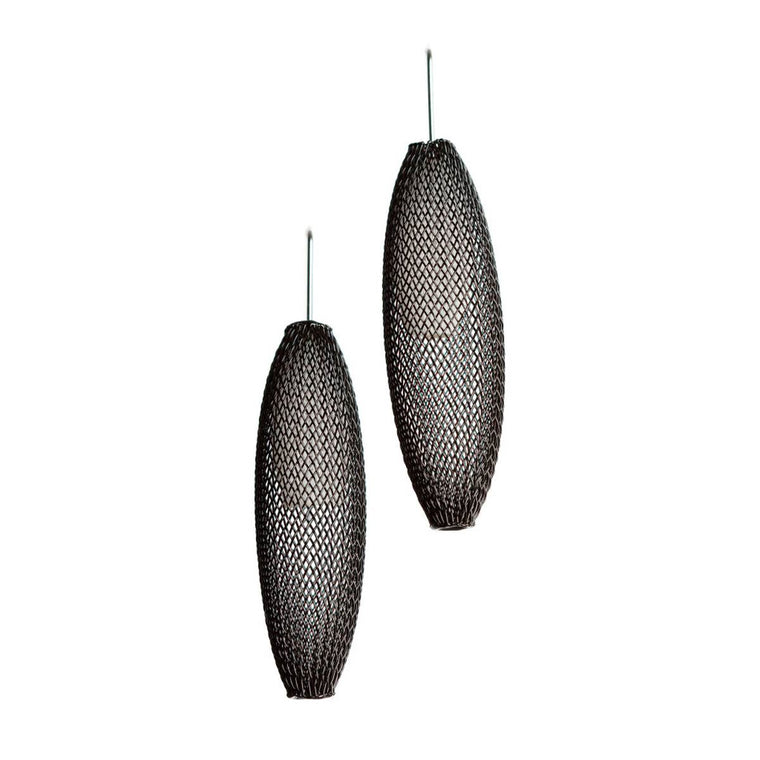 A pair of black and clear earrings made from finely woven nylon mesh. Clear Mesh tubes are visible contained inside Black mesh tubes.