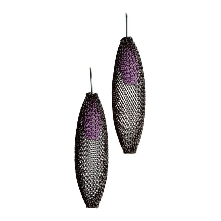 A pair of black and purple earrings made from finely woven nylon mesh. Purple Mesh tubes are visible contained inside black mesh tubes.