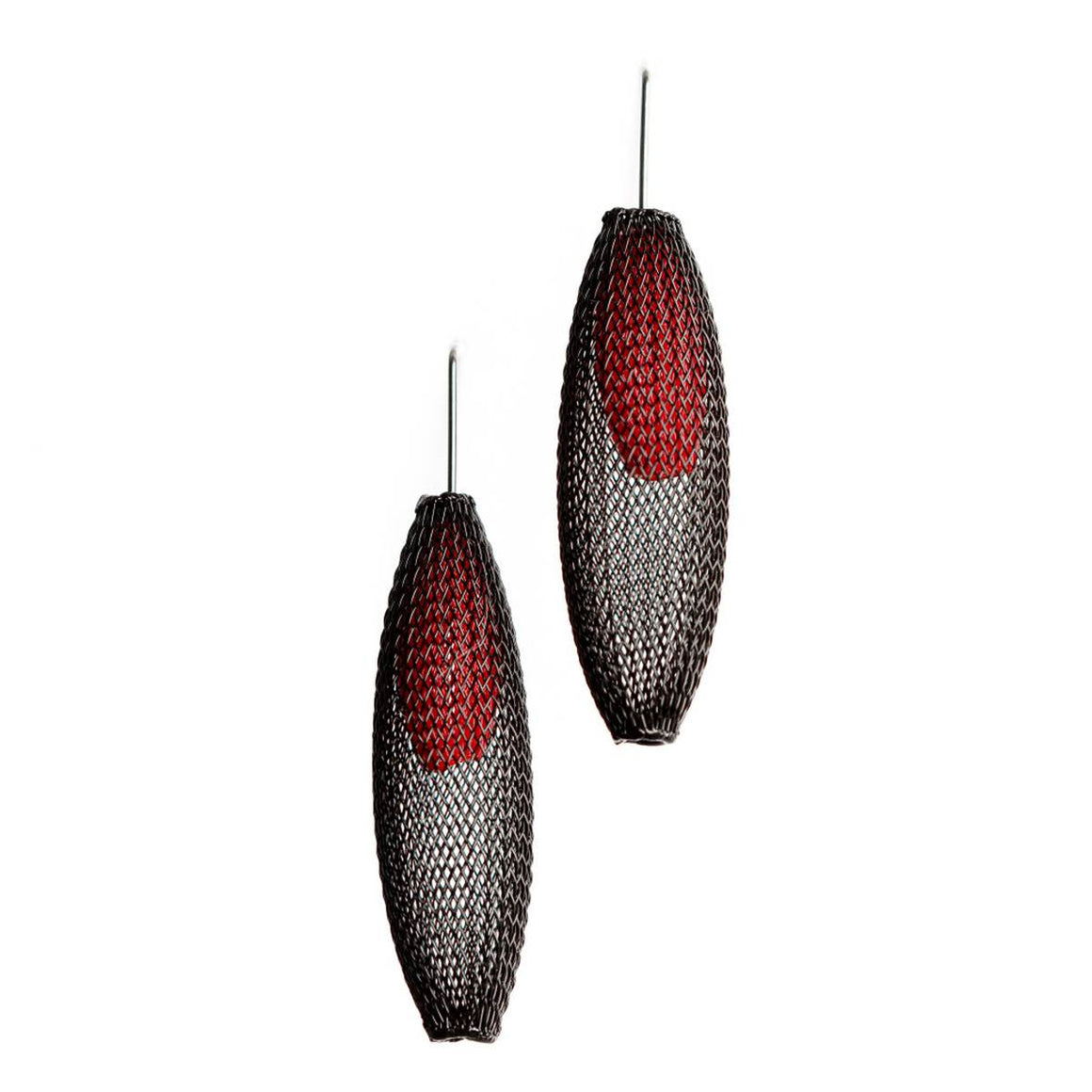 A pair of black and red earrings made from finely woven nylon mesh. Red Mesh tubes are visible contained inside Black mesh tubes.