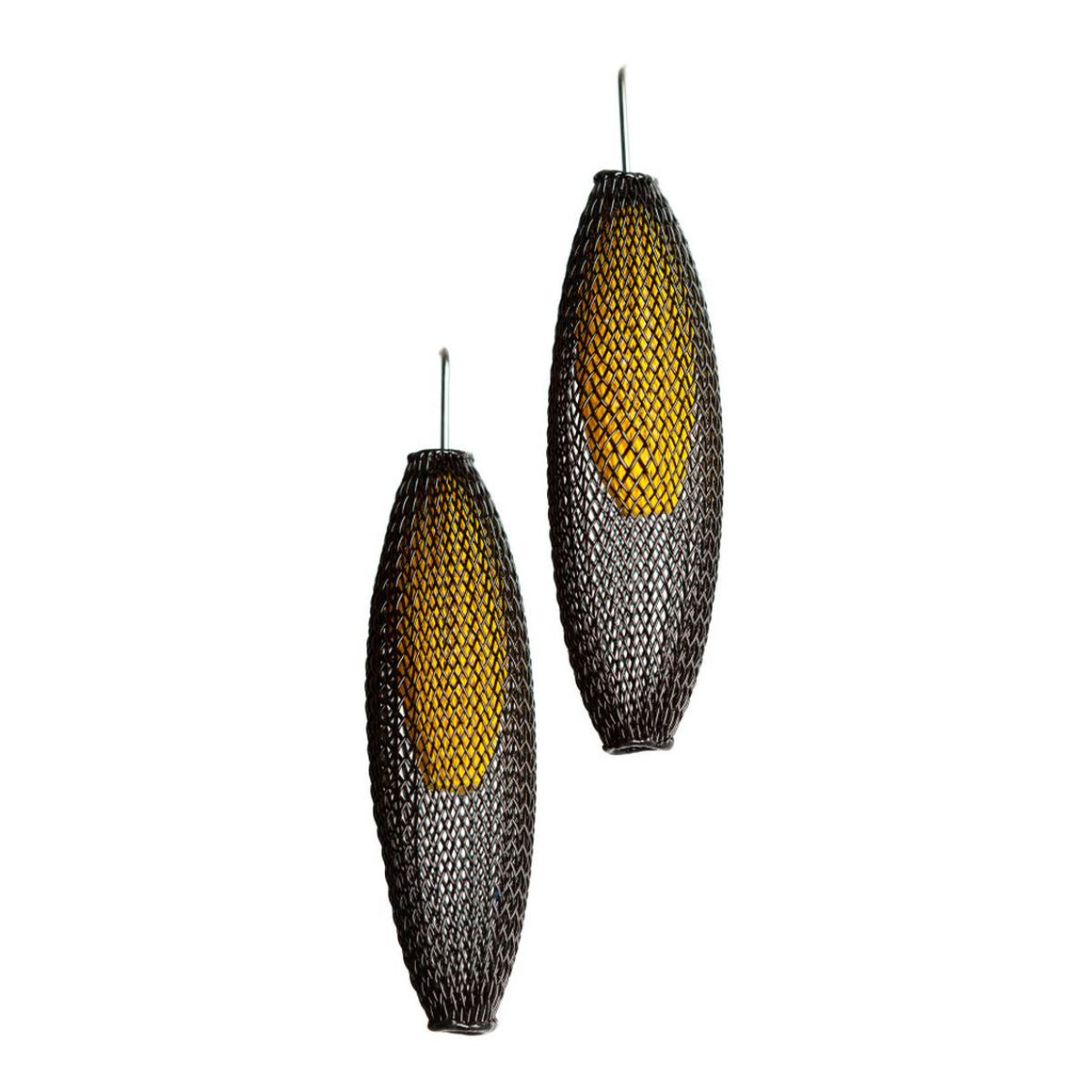 A pair of black and yellow earrings made from finely woven nylon mesh. Yellow Mesh tubes are visible contained inside Black mesh tubes.