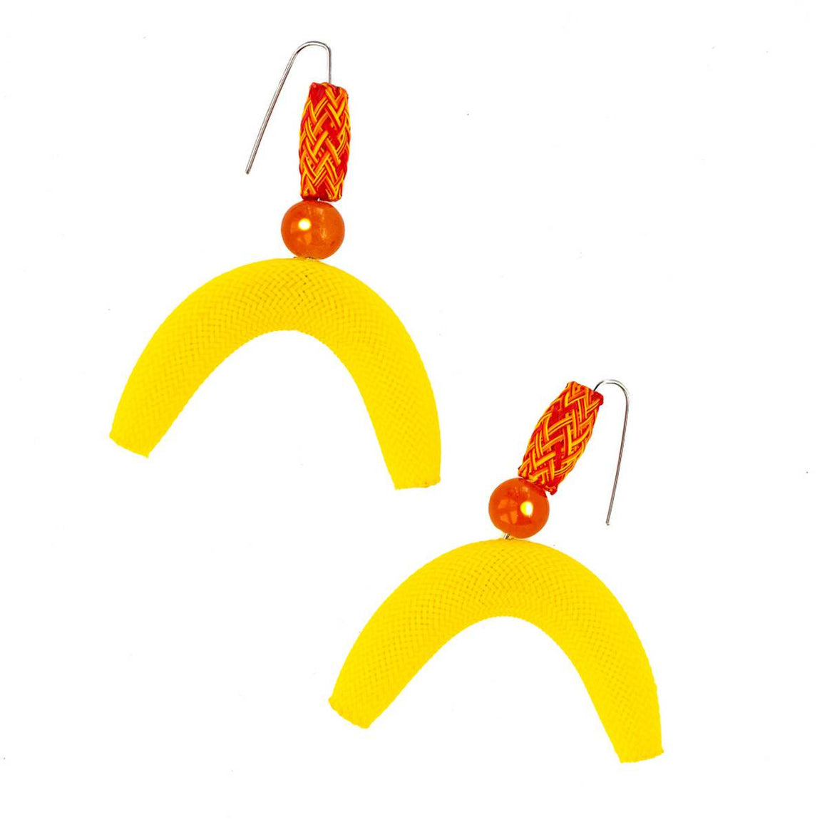 A pair of nylon mesh earrings featuring tube and semi-circle 'moon' shapes in yellow and red.