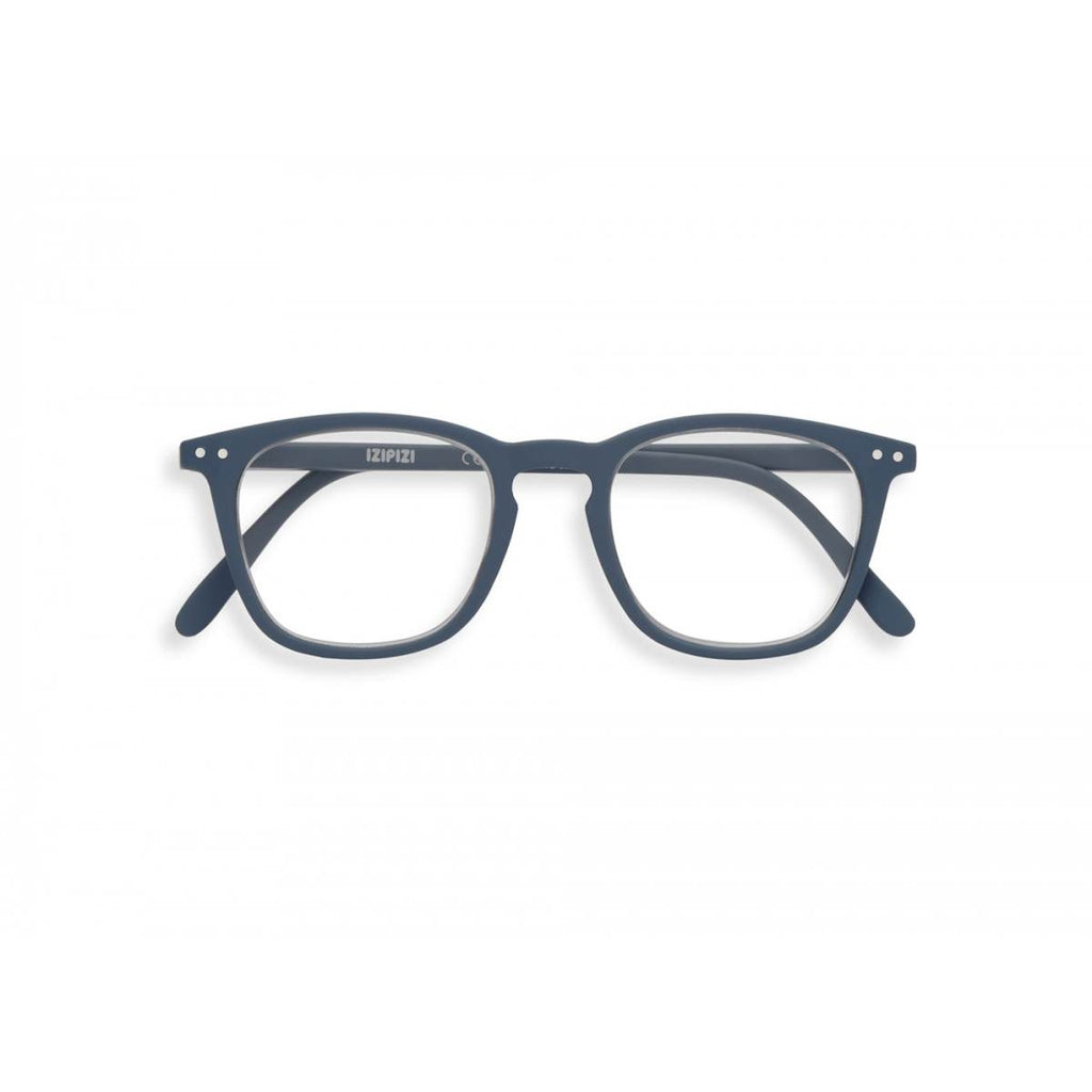 A grey pair of magnifying reading glasses. The frames are a large, structured, trapezium shape.