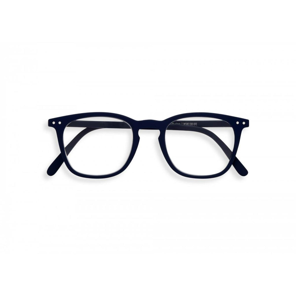 A navy blue  pair of magnifying reading glasses. The frames are a large, structured, trapezium shape.