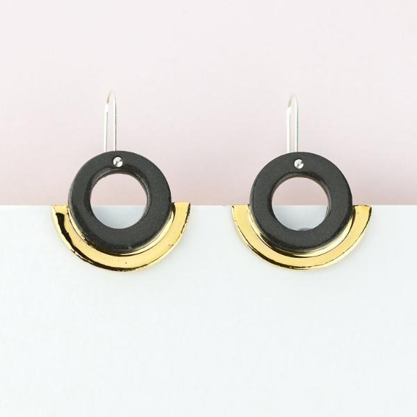 Arc Earrings - Black Gold