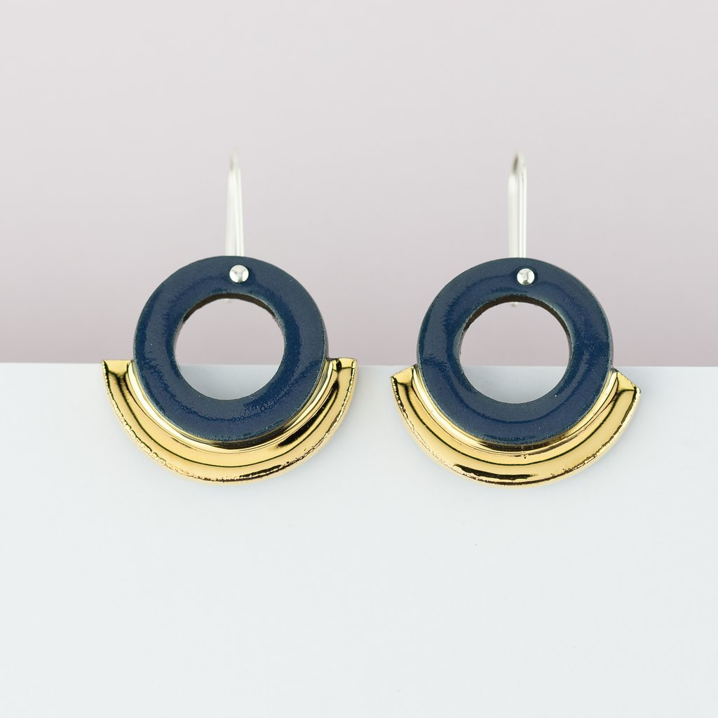 Earrings Arc Blue Gold