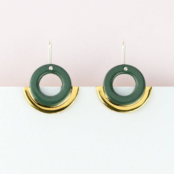 Arc Earrings - Green Gold