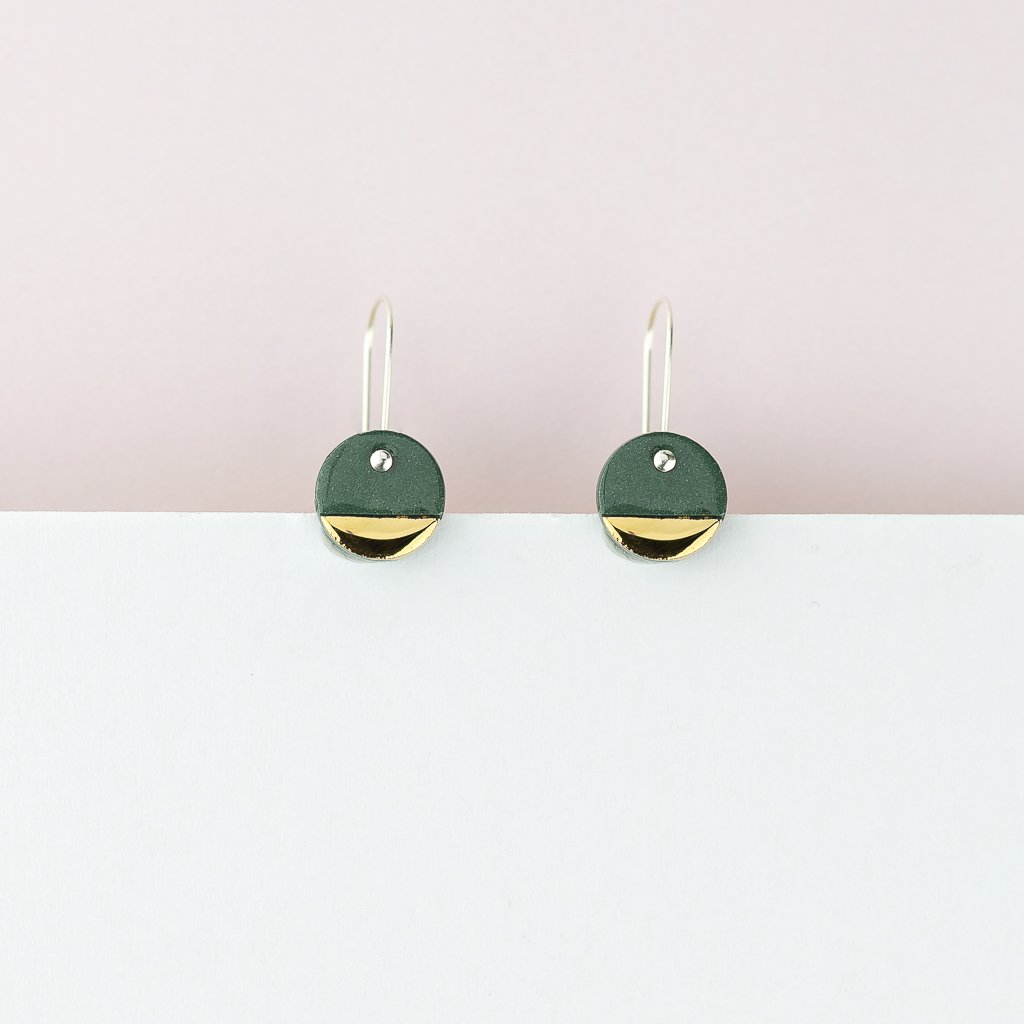 Spot Earrings - Moss Green
