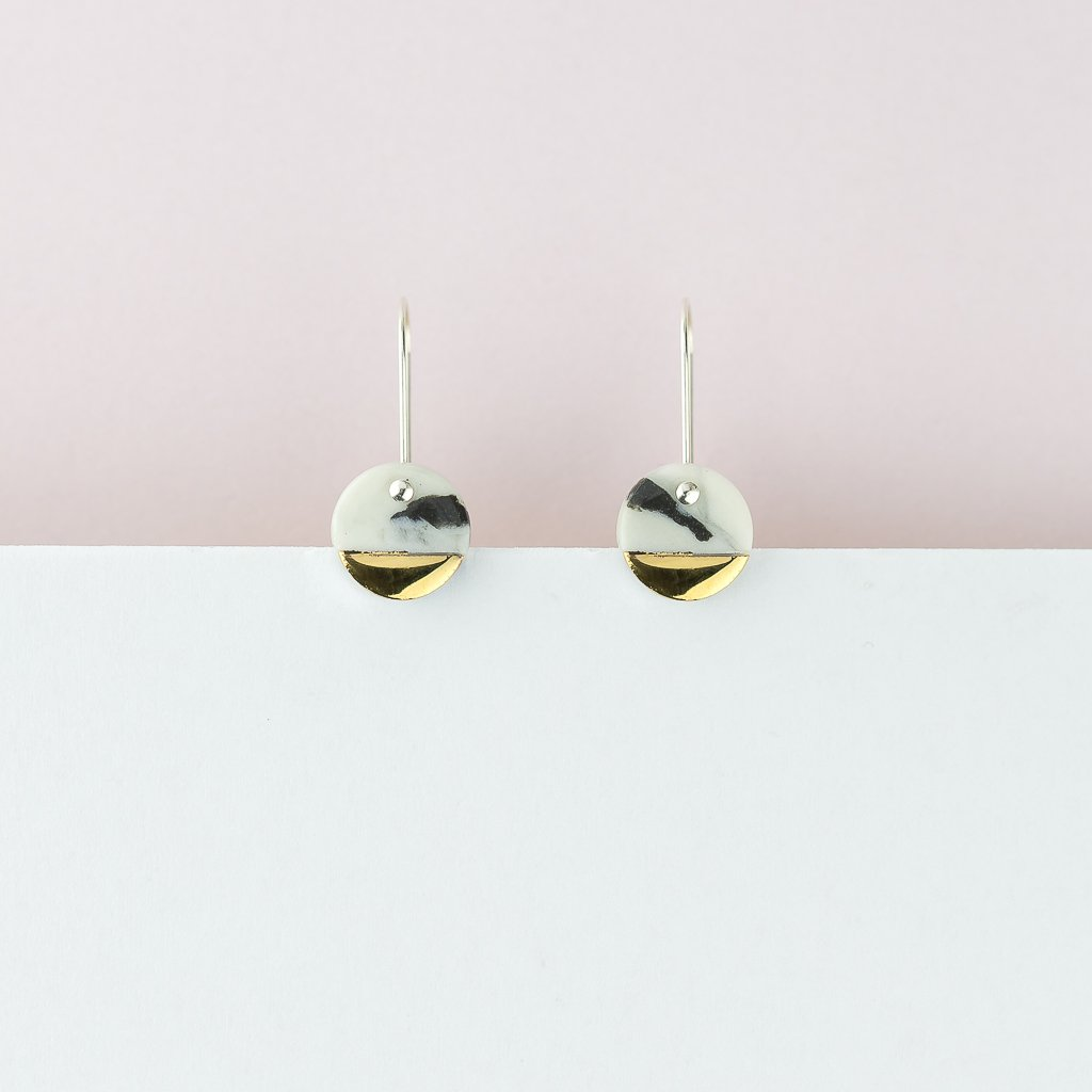 Spot Earrings - Marble Gold