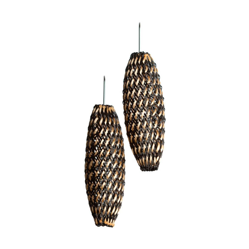 A pair of bronze and black and blue earrings made from finely woven nylon mesh.