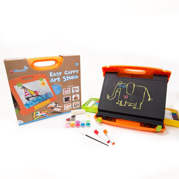 A portable art studio for children contained in a collapsible case.