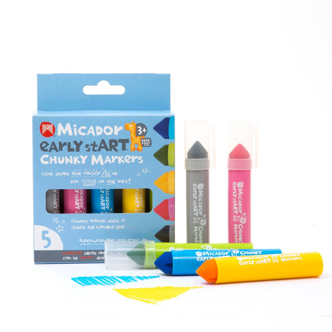 a boxed set of 5 chunky markers for young children in grey, pink, blue, yellow and green.