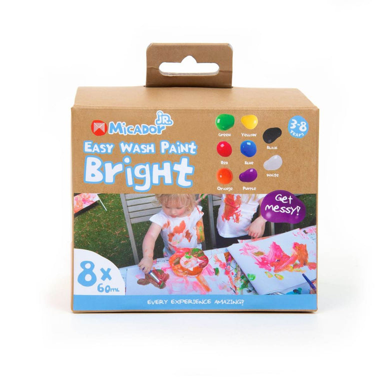 A box set of eight Easy wash paints for children in 60mL tubs. Colours included are all Bright: Green, Red, Orange, Yellow, Blue, Purple Black and White.