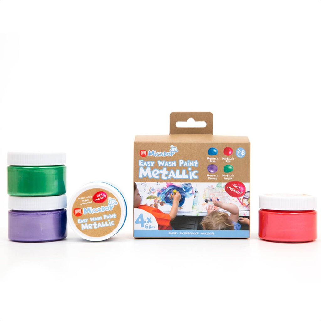 A box set of 4 Easy wash paints for children in 60mL tubs. Colours included are all Metallic: Blue, Purple, Red and Green.