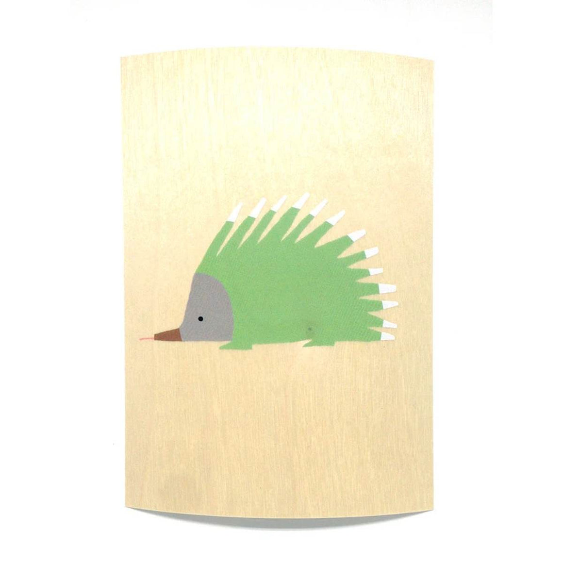 A wooden postcard showing a an illustration of an echidna in green, white, grey and brown. The background is a natural light wood grain.