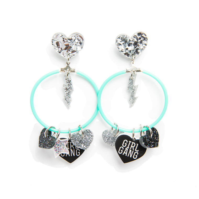 Earrings Barbie Rockers Charm Hoops