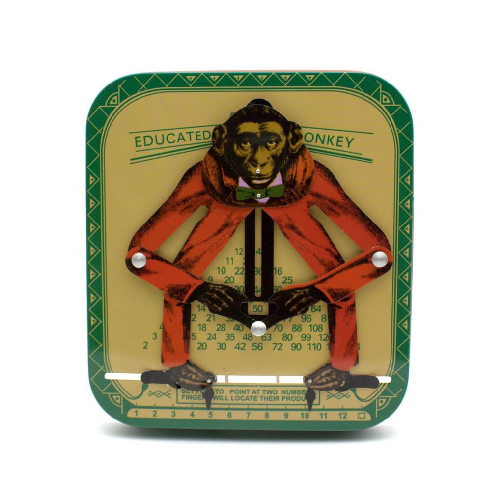 "A tin toy in the form of a movable 2D monkey, affixed to a a base plate that feature numbers and the text ""Educated Monkey"". The Monkey is printed in the style of a vintage illustration is in a red suite. The based plate is green and yellow."
