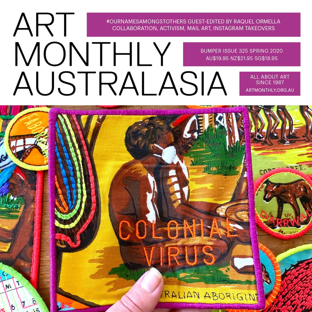 Art Monthly Australasia cover featuring the artwork Colonial Virus by Kait James on the cover