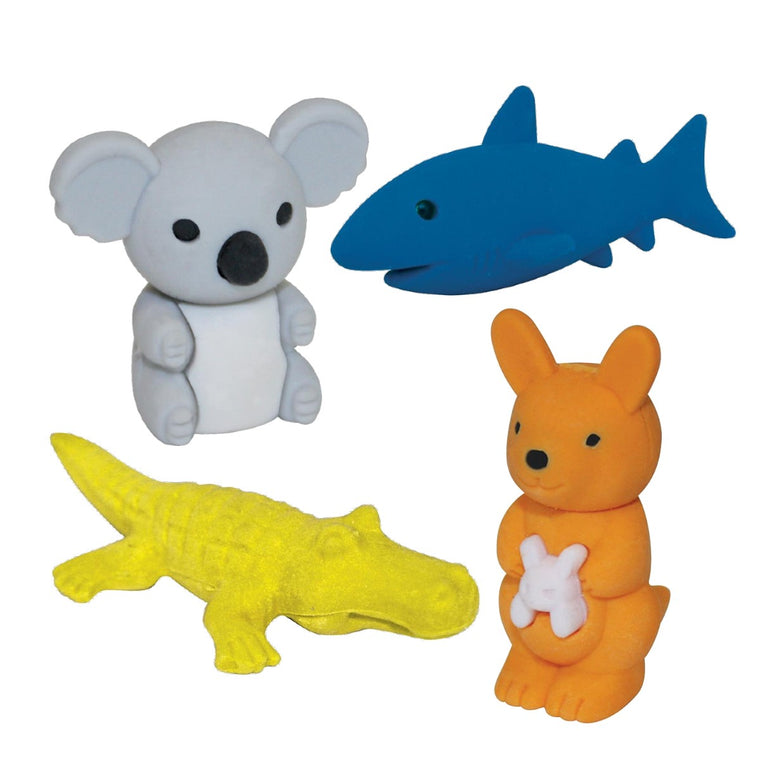 A set of 4 erasers each a different Australian Animal. Included in the set is a koala, crocodile, shark and Kangaroo.