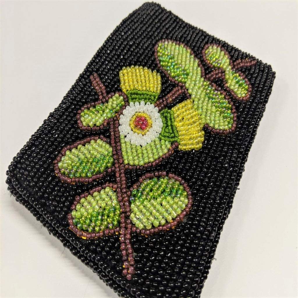 Coin purse featuring beaded image of a eucalyptus blossom