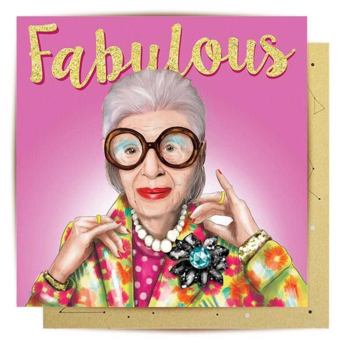Greeting Card featuring illustration of iris apfel and the word Fabulous