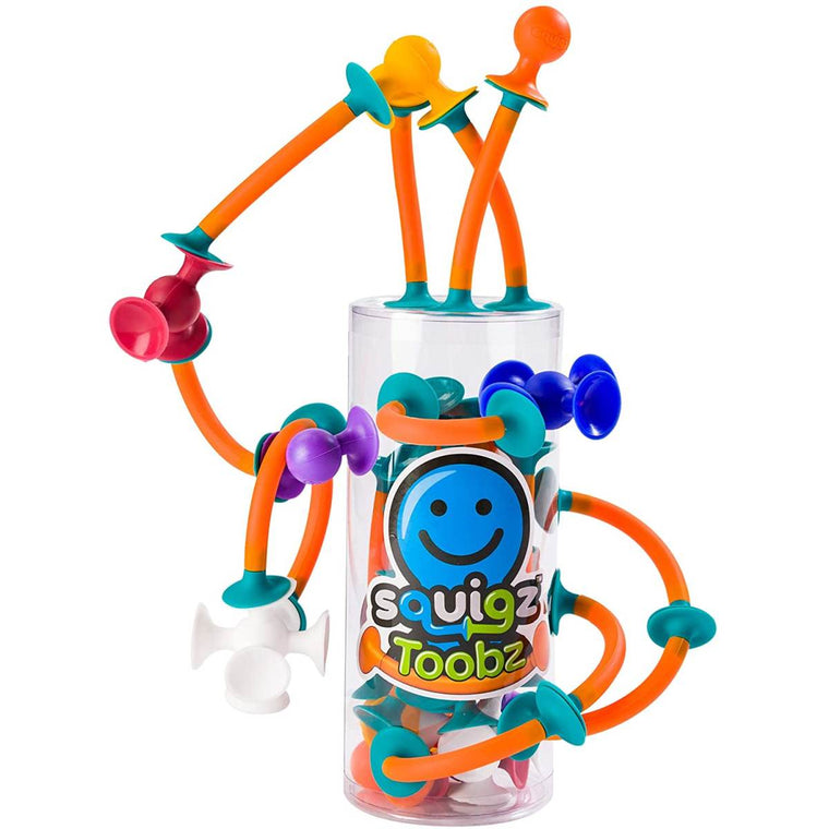 A brightly coloured boxed construction toy. featuring flexible rods and suction cups.