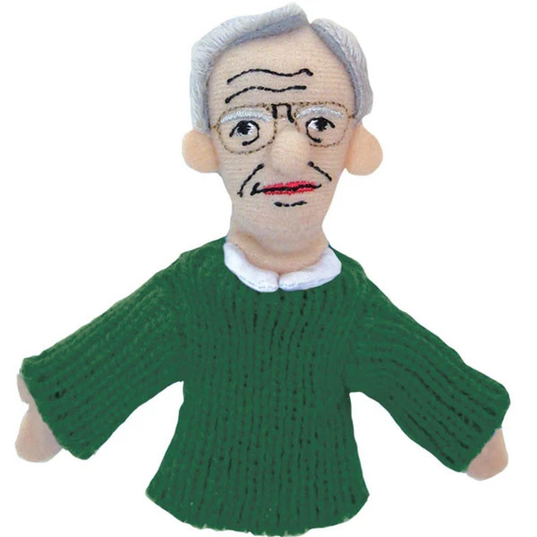 A soft Noam Chomsky  fabric finger puppet wearing green knitted jumper and glasses.