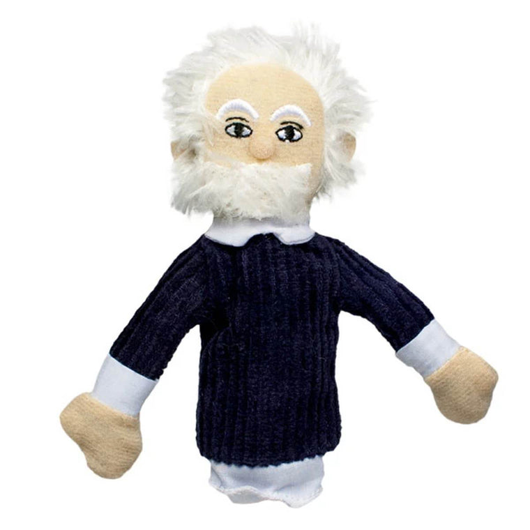 A soft Albert Einstein finger puppet wearing a blue jumper and white collared shirt