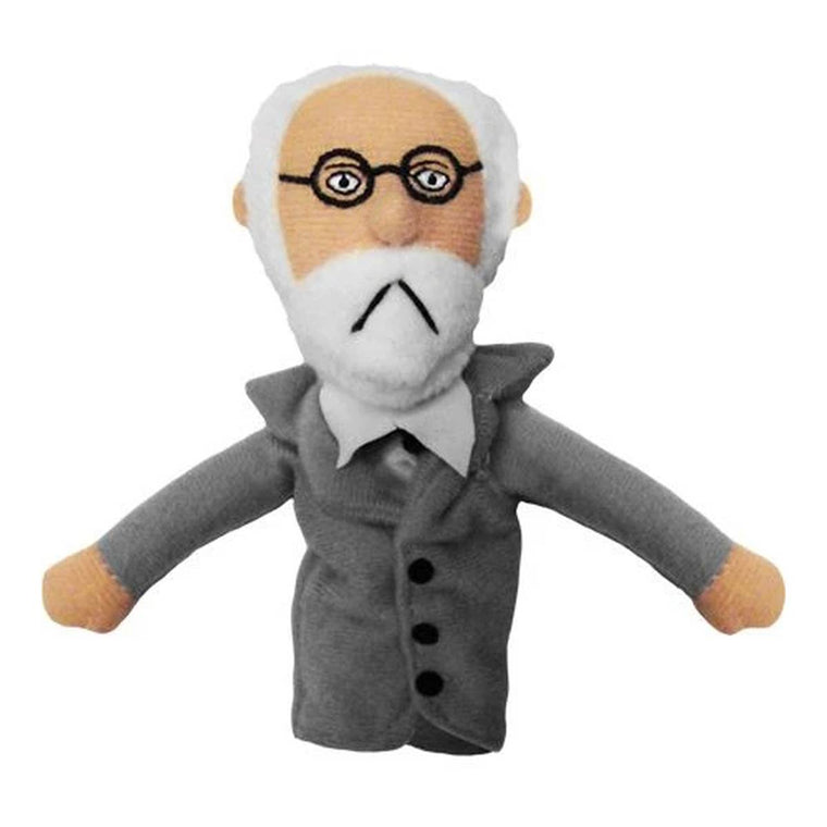 A soft Sigmund Freud fabric finger puppet wearing a Black overcoat, white collared shirt and black round frame glasses.