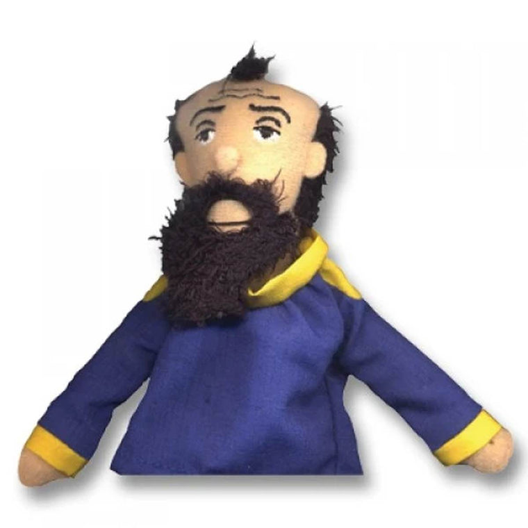 A soft Gustav Klimt fabric finger puppet wearing a blue and yellow jacket.