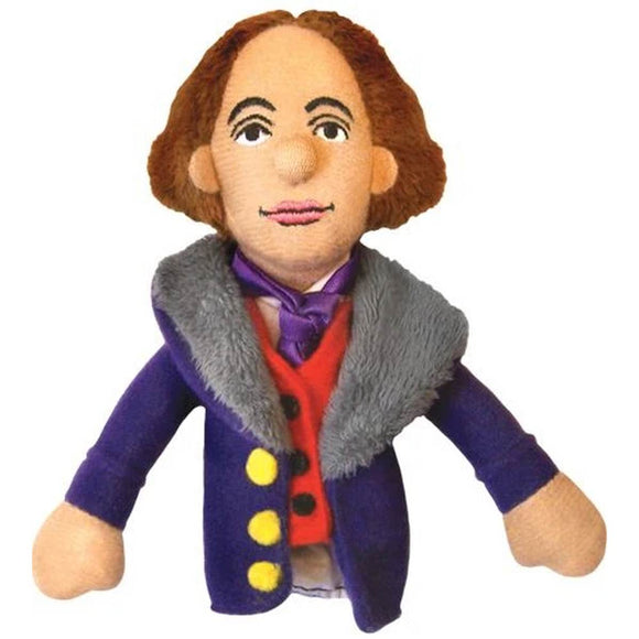 A soft Oscar Wilde fabric finger puppet wearing a purple cravat, red waistcoat and a purple overcoat with grey fur collar.