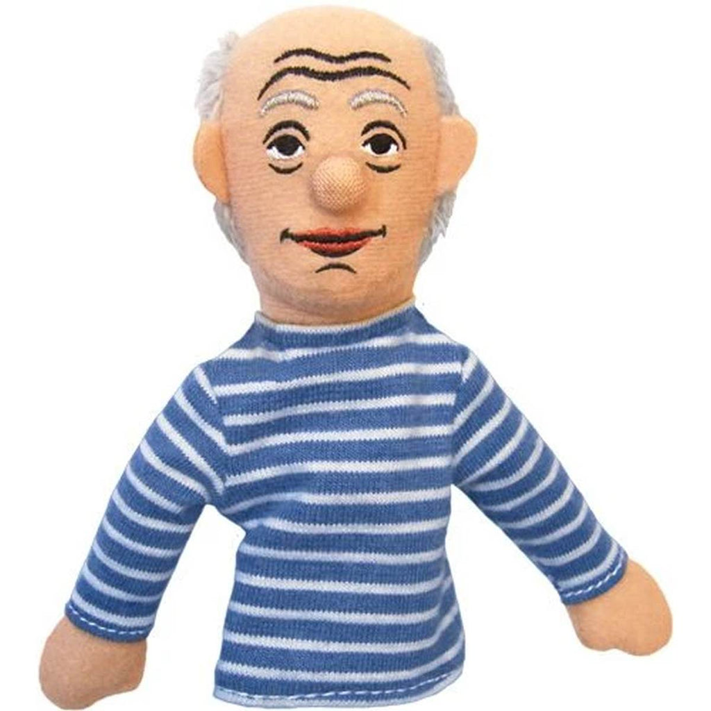A soft Pablo Picasso fabric finger puppet wearing blue and white striped shirt