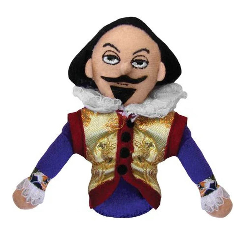 A soft William Shakespeare fabric finger puppet wearing period costume including gold brocade waistcoat and a lace neck frill