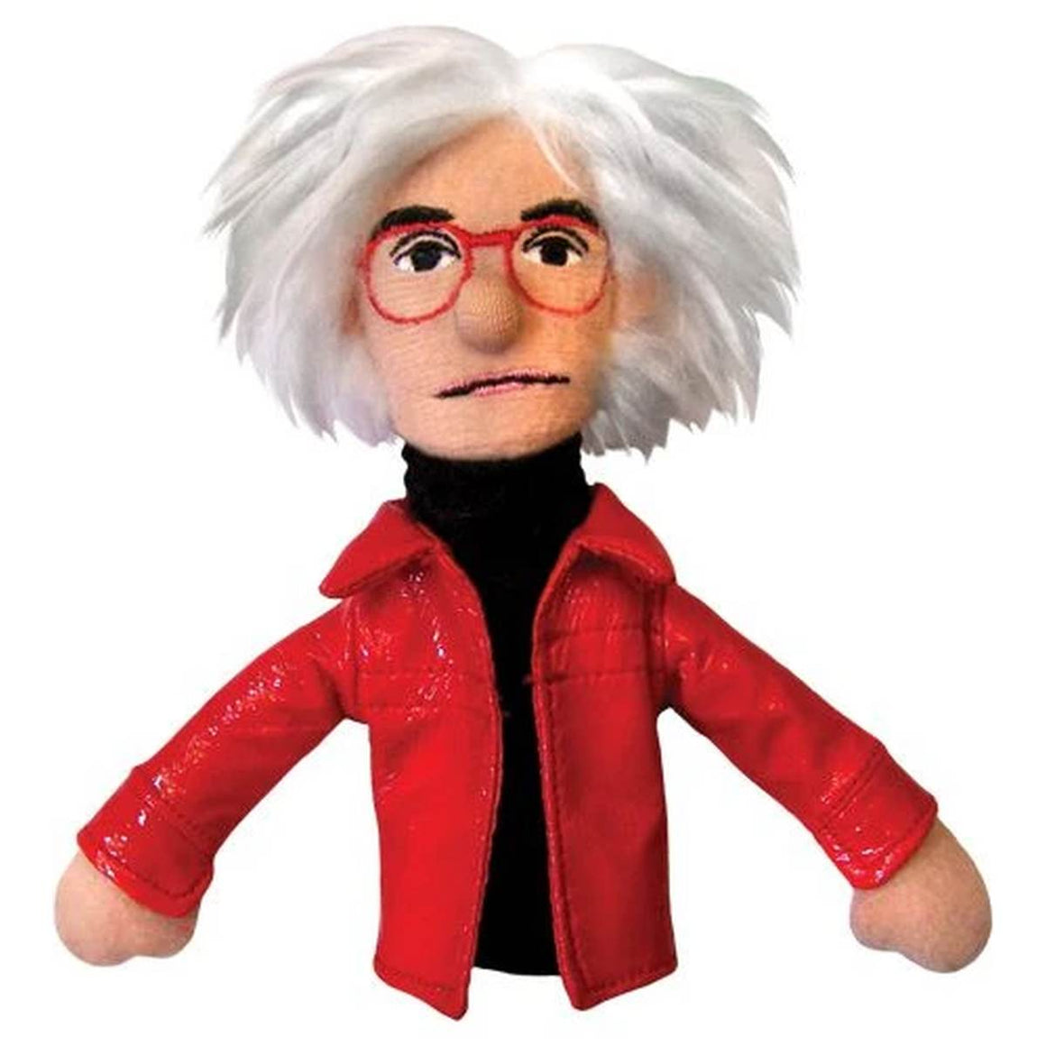 A soft fabric Andy Warhol finger puppet wearing a  black turtleneck, red jacket and red glasses